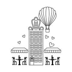 france paris architecture coffee shop street hot air balloon