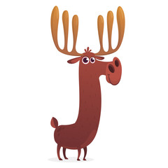 Cool cartoon moose character. Vector moose illustration isolated.