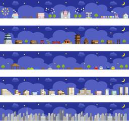 街並み  夜景 セット