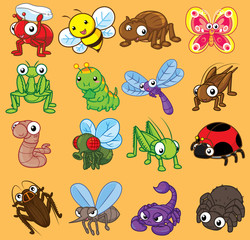 Set cute insects. Cartoon character, Cute vector