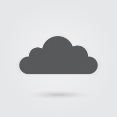 Cloud flat icon gray color, illustration vector