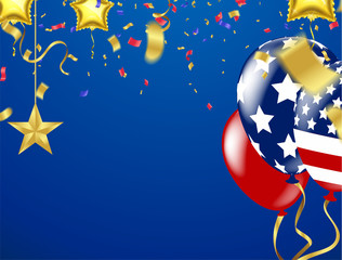 balloon on transparent on star pattern background, Vector illustration. independence day card United States July 4