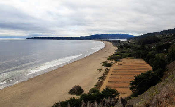 Stinson Beach as seen from above, northern California
