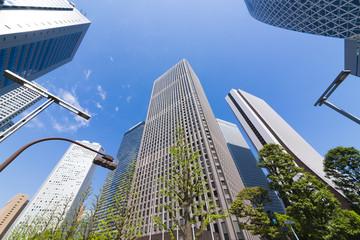 東京風景・新宿高層ビル街・超広角
