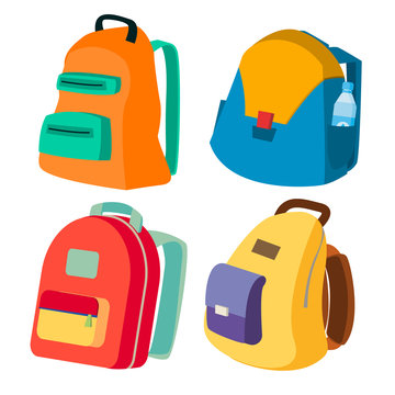 Schoolbag Set Vector. Closed Backpacks Side View. Colored School Modern Backpacks. Isolated Flat Cartoon Illustration