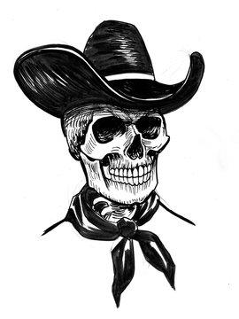 Human skeleton in a cowboy hat