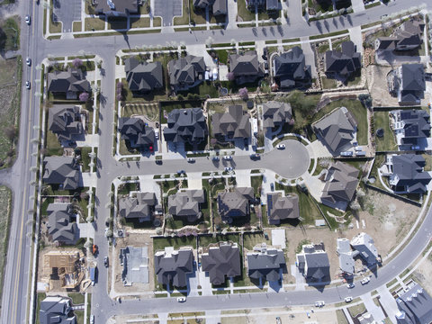 aerial, homes, rooftops. community, subdivision