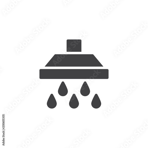 Shower Head And Large Water Drops Falling Vector Icon Filled Flat