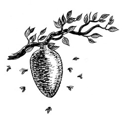 Ink black and white illustration of a beehive on a tree