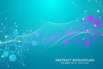 Abstract molecular network pattern with dynamic lines and points. Vector geometric illustration.