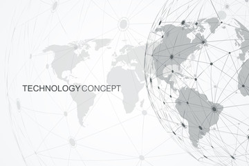 Global network connections with world map. Internet connection background. Abstract connection structure. Polygonal space background. Vector illustration. Wall mural
