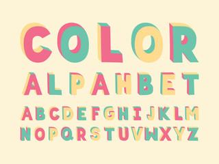 Color Handwritten font. Vector alphabet