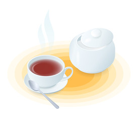Flat isometric illustration of cup of tea and sugar bowl. The hot black or herbal tea in the porcelain teacup, ceramic sugar basin, tea spoon. Vector food, breakfast, drink elements isolated on white.