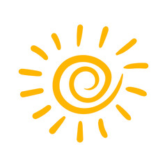Hand drawn sun vector icon. Sun sketch doodle illustration. Handdrawn sunshine concept.