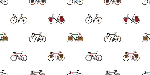 bicycle Seamless Pattern vector cycling isolated background wallpaper vintage touring bicycle