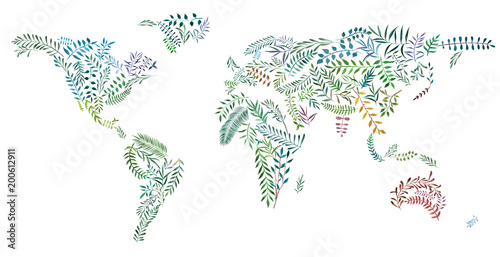 2d hand drawn illustration of world map earth continents from 2d hand drawn illustration of world map earth continents from watercolor leaves and branches gumiabroncs Images