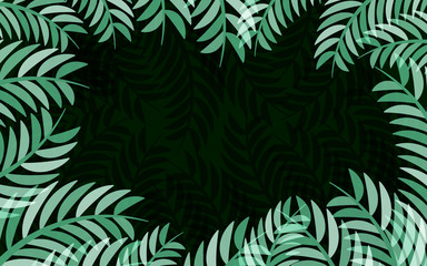 Green leaves frame vector abstract  nature background design