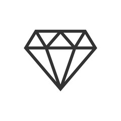 Diamond jewel gem vector icon in flat style. Diamond gemstone illustration on white isolated background. Jewelry brilliant concept.