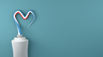 Heart symbol and love from toothpaste. Copy space. 3D rendor