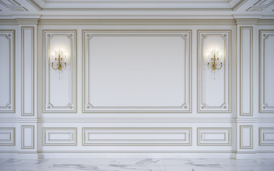 Foto op Canvas Wand White wall panels in classical style with gilding. 3d rendering