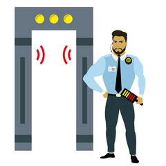 metal detector frame and male security guard,