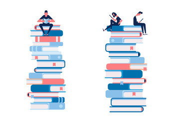 Man and woman reading books sitting on large stack of books.  Cartoon flat vector illustration isolated on white background.