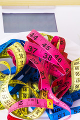scale and metric tapes . diet and slimming concept