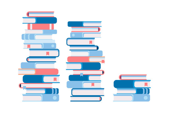 3 stacks of books, different by height. Flat vector illustration isolated on white background.
