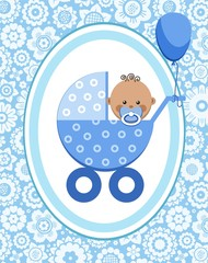 Little boy, African, postcard, floral background, vector. A little boy in a blue stroller. A blue ball is tied to the stroller. Color, flat card. Congratulation. Blue flowers on a blue field.