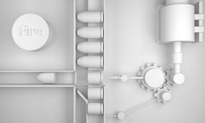 Engineering gun concept White desinge 3D rendering