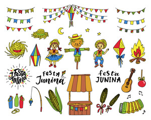 Festa Junina traditional celebration symbols.
