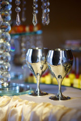 Crystal glasses for newlyweds wedding