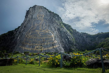 The Buddha at the cliff in thailand.