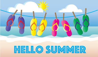 hello summer beach vacation header banner