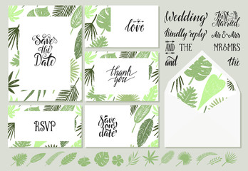 wedding invitations templates with tropical leaves