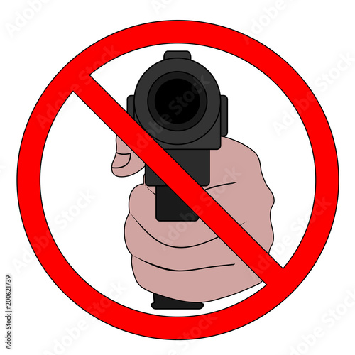 Symbol Of The Prohibition Of Weapons Terrorism And Violence Stop
