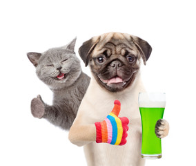 St Patrick's Day concept. Cat and dog with a glass of green beer shhowing thumbs up. isolated on white background