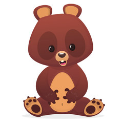 Cute cartoon bear. Vector illustration with simple gradients.