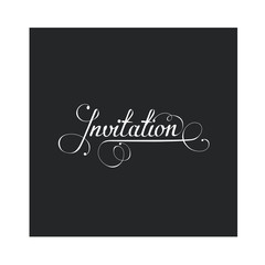 Invitation in calligraphic style, vector design element
