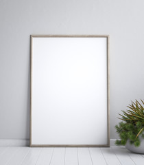 Mock up poster frame, interior minimalism,Scandinavian design, 3d render