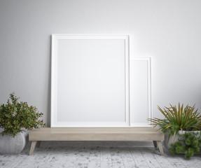 Mock up poster frame, interior minimalism,Scandinavian design, 3d render