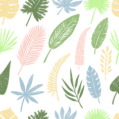 Seamless pattern of hand drawn tropical leaves and flowers.Vector illustration.