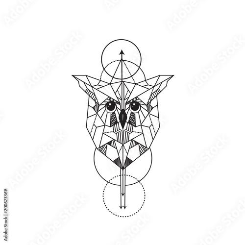 owl tattoo geometric line designs
