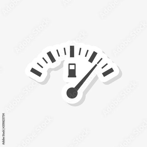 Fuel gauge sticker, Full gas tank, simple vector icon