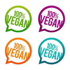 Wall Mural - 100% vegan round Buttons. Circle Eps10 Vector.