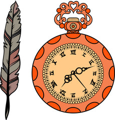 set of gold watch and feather in vector