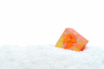 Square gift box in snow