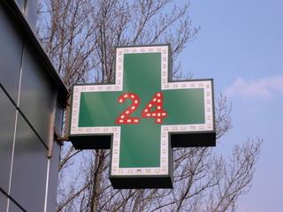 medical twenty-four-hour drugstore signboard