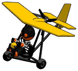 Orange Thief Man in ultralight aircraft top side view