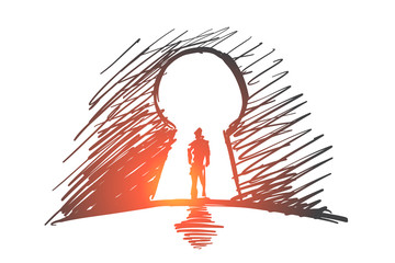 Hand drawn man standing in keyhole